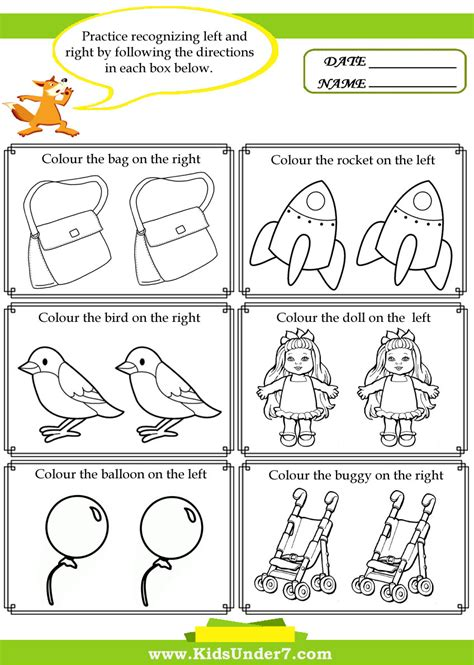 7 Activities For Children by Excellent Left And Right Worksheets Worksheet