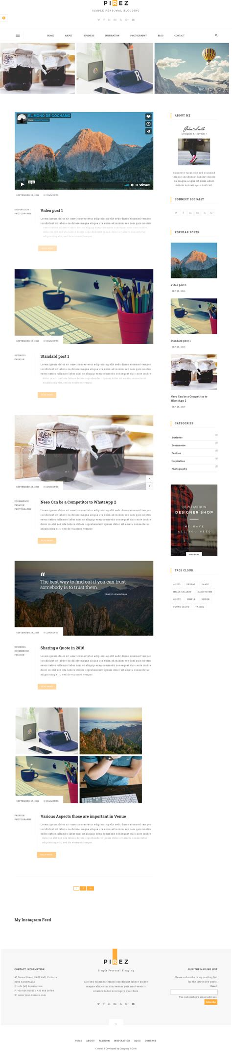 themeforest drupal 8 pirez blogging drupal 8 theme by drupalet themeforest