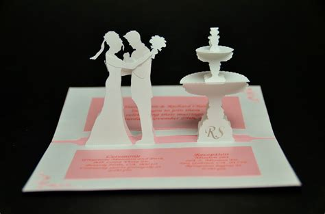 wedding cake pop up card template wedding invitation pop up card and groom