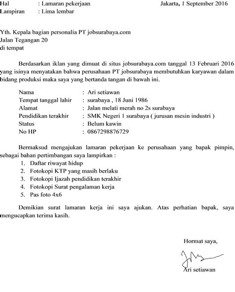 25 contoh surat lamaran kerja yang baik dan benar doc update