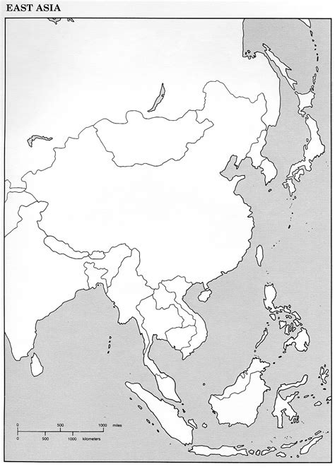Physical map of china black and white and travel