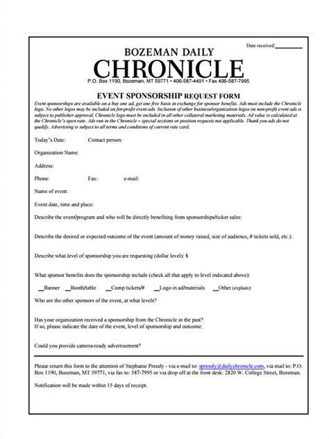 Sponsorship Letter Nz 7 Event Sponsorship Form Sle Free Sle Exle Format