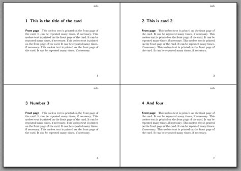 4 index cards per page template pdfpages how can i print index cards two sided with