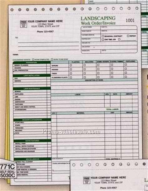 Landscape Work Order Forms Landscaping Work Order Invoice Forms