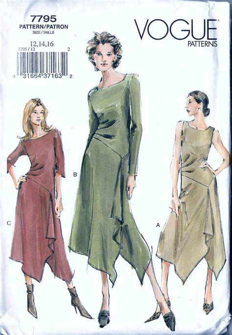 dress pattern handkerchief hem vogue 7795 misses handkerchief hem dress sewing pattern