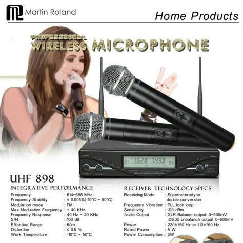Microphone Werles Pewie Uhf 898 martin roland uhf 898 wireless microphone instruments on carousell