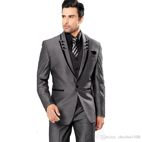 Best Selling 2016 Custom Suit Best Man Wedding Prom Tuxedos Groom Suit Grey Men Wedding Suits