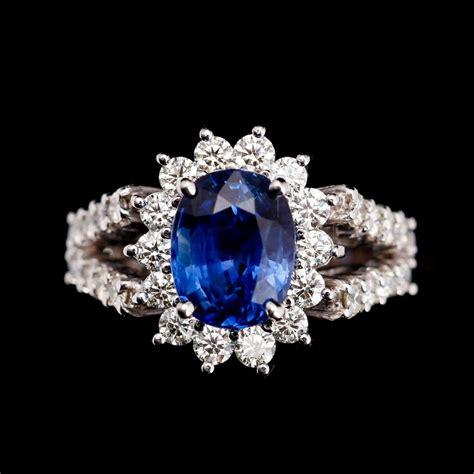 Blue Safir Sapphire 5 5ct ring 18 k vitguld safir 4 5 ct samt briljantslipade