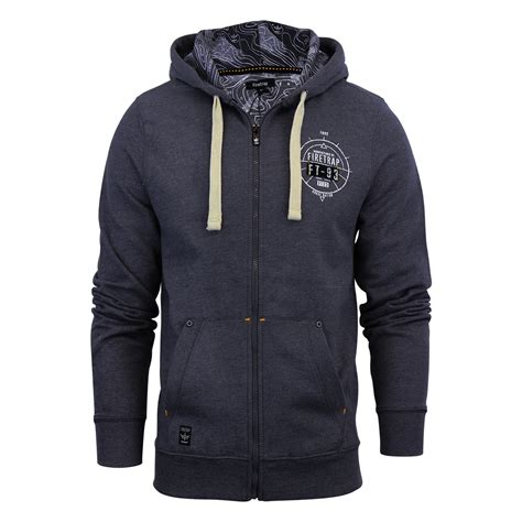 Ja Ft 29 Navy Cardigan Jaket mens hoodie firetrap imber hooded zip up jumper