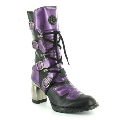 new rock m6373 womens mid calf boots purple black