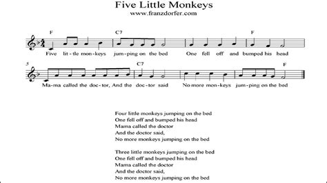 the bed song five little monkeys instrumental youtube