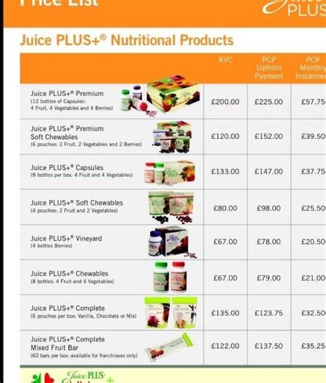 Price Of Detox by Price List For Juice Plus Products Juice Plus