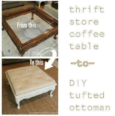 coffee table turned ottoman before and after turning a coffee table into a tufted
