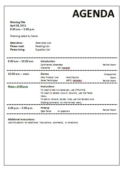 meeting agenda template word documents