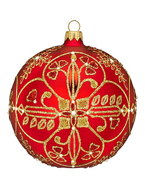 waterford heirloom beaded lace ruby ball ornament