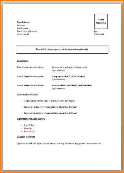 Exemple De Cv Simple Word by Cv Etudiant Modele Template De Cv Word Jaoloron