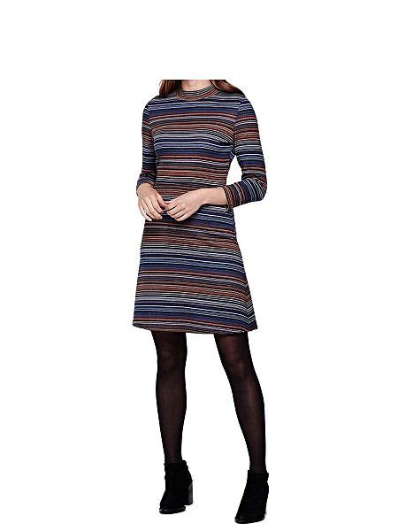 Dress Stripey yumi stripey jersey high neck dress multi coloured house