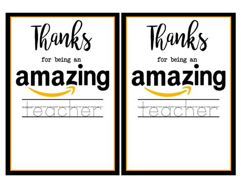 Amazon Gift Card Printable For Teacher - teacher appreciation amazon card paper trail design