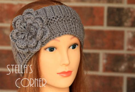 knitting pattern for headbands with flower items similar to knitted headband gray flower headband