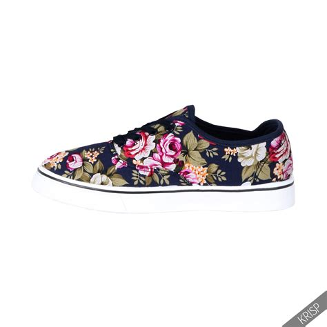flat sneaker floral glitter slip on plimsolls trainers