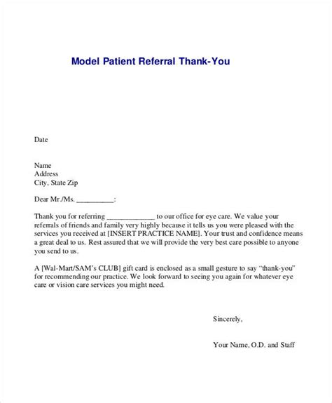 Thank You Letter Referral 14 doctor note templates free premium templates