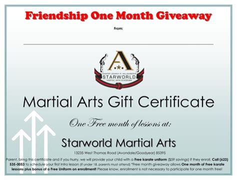 free martial arts certificate templates martial arts gift certificate template for free