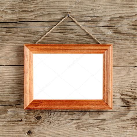 wall hanging photo frames photo frame hanging on wooden wall stock photo