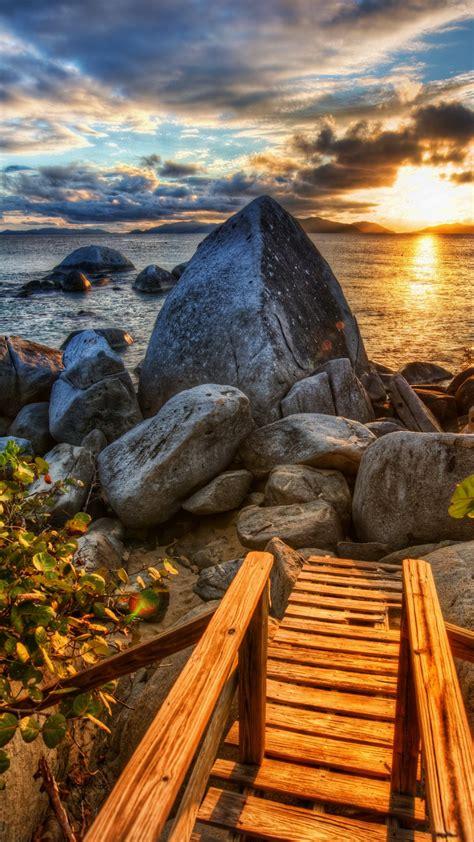 wallpaper sea  hd wallpaper sun sunset stones