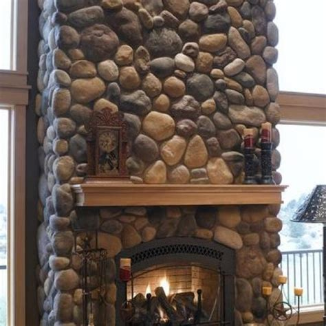 River Rock Veneer Fireplace by Masonry Depot New York River Rock