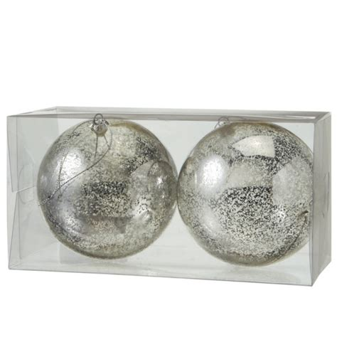 large vintage silver ball christmas ornaments set of 2