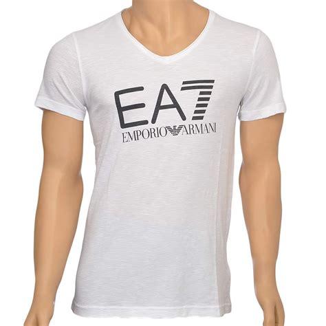 tshirt armani iii ea7 emporio armani sea world logo v neck t shirt white