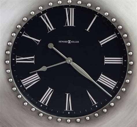 625610 Howard Miller Oversized Silver Riveted Round Wall Clock