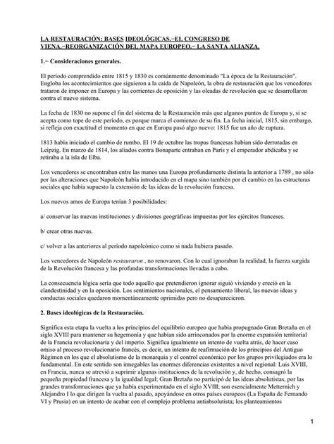 Restauración. Bases ideológicas. Congreso de Viena