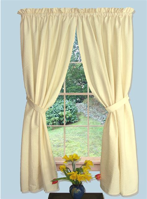 curtains pair seersucker 63 quot tailored panel pair with tie backs