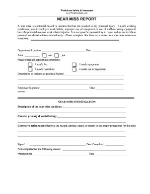 near miss reporting form template work incident report template forms fillable printable
