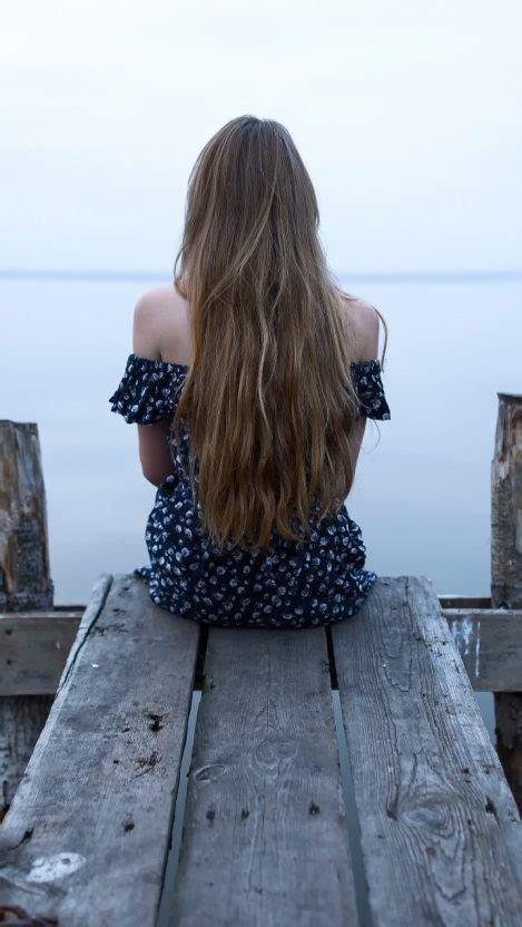 wallpaper of girl sitting alone girl standing on waterfall beautiful body hairs iphone