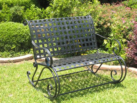 iron rocking bench wrought iron bench rocker lattice in outdoor rockers