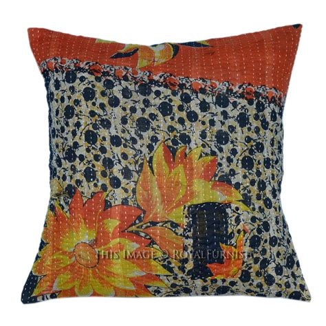 Handcrafted Pillows - handmade outdoor indoor cotton vintage kantha pillow