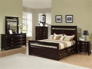 espresso finish contemporary bedroom w storage bed