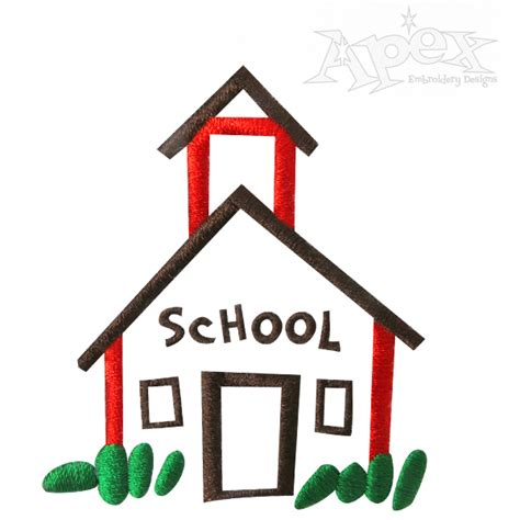 house embroidery pattern school house embroidery design