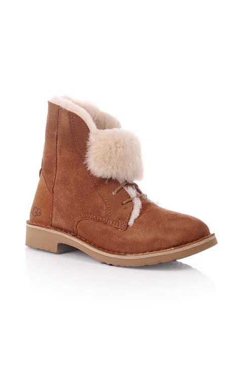 ugg womens ugg quincy sheepskin lace up flat boot chestnut