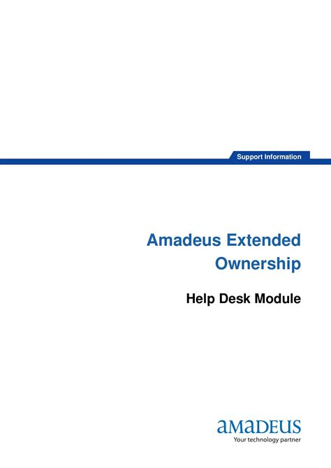 Pdi Help Desk by Amadeus Extended Ownership By Chiraphong Khumkhrong Issuu