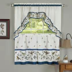 birds 3 pc swag tier kitchen curtain set curtain