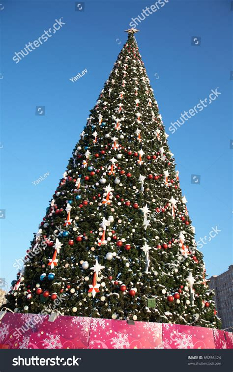 large ornaments for outdoor trees large outdoor tree in snow and ornaments stock