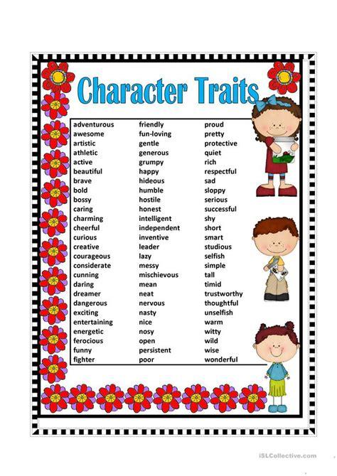 Character Traits Worksheet by Character Traits Worksheet Free Esl Printable Worksheets
