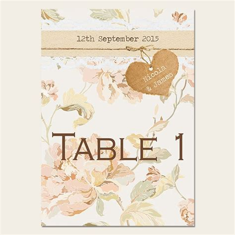 shabby chic flowers a5 table names numbers