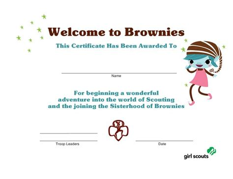 welcome certificate template scout printables welcome to brownies certificate