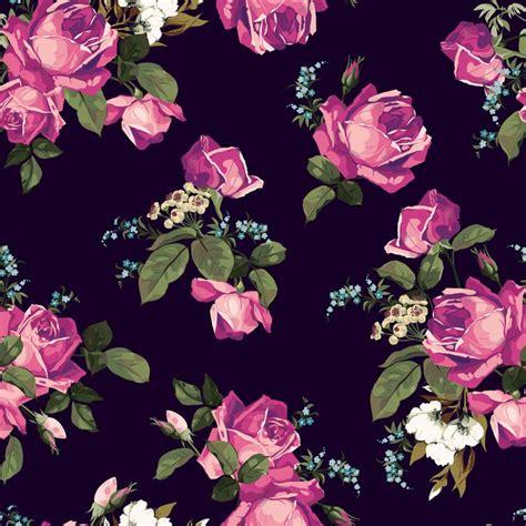 Lu Hias Motif Bunga Pink papier peint vector motif floral avec des roses sur fond