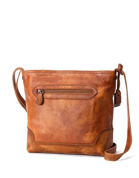 brown leather crossbody frye leather crossbody in brown cognac lyst