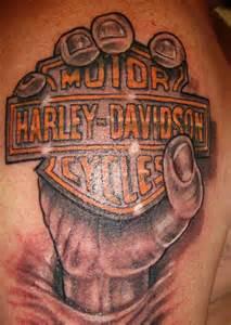 Harley davidson tattoo on lower back